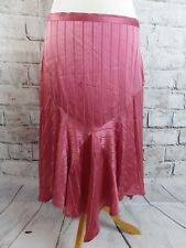 """BNWT FRENCH CONNECTION skirt 12 waist 32"""" 100% silk salmon pink striped 20s"""