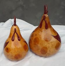 Usa-Made Set of Two One-of-a-Kind Hand-Painted Rooster Gourds by Devon Cameron
