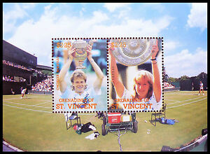 St VINCENT Wholesale Tennis Edberg/Graf Miniature Sheets x 50 SALE PRICE AB 665