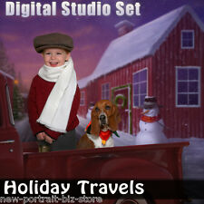 Christmas Digital Background Backdrop Photography Green Screen-Holiday PSD File