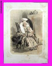 """Litho """"La Normandie illustrée"""" Femme de Mont Gardon (Manche)  - Signé Lalaisse"""