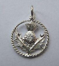 Escocés Cardo en círculo de plata esterlina encanto