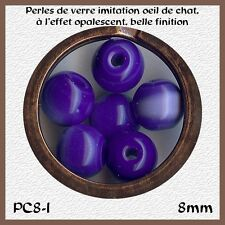 PC8-I*** 30 PERLES RONDES OEIL DE CHAT 8MM BLEU INDIGO*** x30