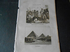 1836 ANCIENT STEEL ENGRAVING EGYPTIAN SPHINX PYRAMIDS TURKISH TROOPS