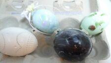 Vintage Unique Lot 3 Decorative Easter Eggs Marble Glass Ornament