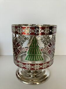 Bath & Body Works Christmas Trees & Snowflakes Pedastal 3 Wick Candle Holder New