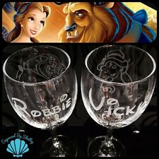 Handmade Personalised DISNEY Wedding Glasses BEAUTY &THE BEAST For Bride & Groom