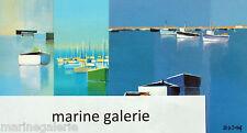 Carte art peinture Le Guellaff barques port breton bleu Lot 3x à encadrer Neuf