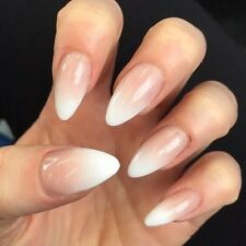 10 HAND PAINTED NUDE TO WHITE OMBRÉ GRADIENT STILETTO FALSE FAKE NAIL SET