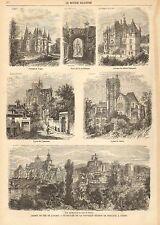 French, City View, Ville De Gisors, Architecture, Vintage 1868 Antique Art Print