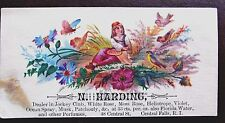 PERFUME TRADE CARD HARDING CENTRAL FALLS RHODE ISLAND FLOWERS BIRDS WOMAN GIRL