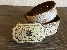 Planet Belt Frauen Vintage Ledergürtel, weiß, Sonne/ Blumen/ Glitzer, 80cm