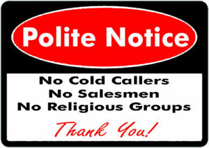 No Cold Callers Salesmen or Religious groups Self Adhesive Sticker FREE POST UK!