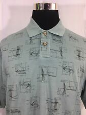 NWT Woolrich Chambray Fish Mens Large Fly Fishing Pattern Blue Casual Polo Shirt