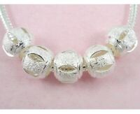 30pcs Silver Plated Carved Charm Beads Big Hole Fit Bracelet ST10