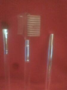 Clinique Brush Set/ 3 Brushes /Angled/Eyebrow/Lash Combo and Silver Lip Brush