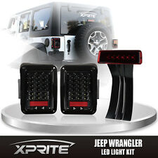 Xprite 3rd Red Brake Light Clear LED Taillight Combo For 07-17 Jeep Wrangler