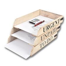 HSM Briefablage Holz 3-er Set Büroablage Ablagebox – Aufbewahrung Shabby Chic
