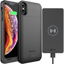 iPhone X XS Battery Case with Wireless Charging & Qi Charger Pad by Alpatronix