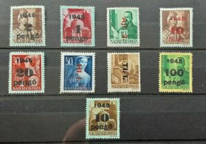 Hungary 1945 - collection of 9 MH Overprinted / Surcharge stamps