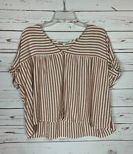 Madewell Women's L Large Rhyme Button Striped Short Sleeve Fall Top Blouse Shirt