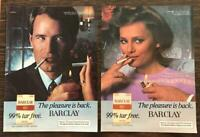 Pair of Vintage 1981 PRINT ADS for Barclay Cigarettes Him and Her Models Dressy