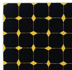 Yellow Diamond Geometric Black-Yellow Hand-Tufted 100% Wool Soft Area Rug Carpet