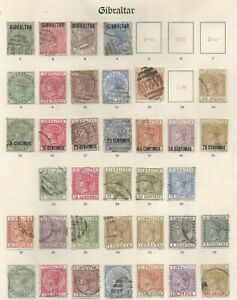 GIBRALTAR A VICTORIAN  ALBUM PAGE OF FINE USED MOSTLY COMPLETE SETS CAT £1100