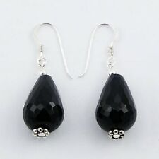 Handmade Earrings Faceted Black Agate 13mm Beads 925 Silver Hook Drop 39mm