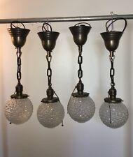 """21"""" Four Brass Pendant Light Fixtures Beautiful Globes Antique Bar Kitchen 19E"""