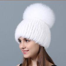 Mink Fur Beanie Hat With Finn Fox Pom Pom