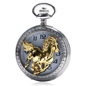 Retro Steampunk Mens Running Golden Horse Zodiac Quartz Pocket Watch Analog Gift
