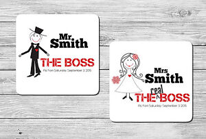Pair of Personalised Mr & Mrs Wedding Drink Coasters The Boss Gift, Present