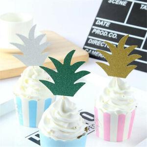 12pcs Glitter Pineapple Cupcake Pick Cake Topper Birthday Party Decor