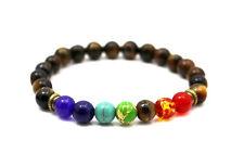 Chakra Bracelet BROWN with 7 Gemstones by ZILA COMPANY, Crystal Reiki Healing