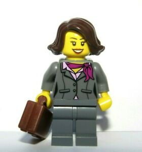 Lego Female Girl  Minifigure Brown Hair Grey Suit Briefcase Office Business