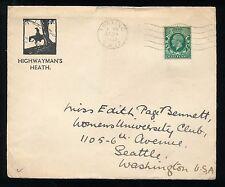 Great Britain Half Penny, Highwayman's Heath., Tooting to Seattle, Washington