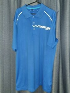 Adidas Climachill Polo Golf Shirt Extra Large Blue & White Top Golfing Tee XL