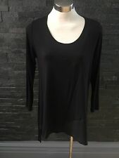Yong Kim QVC Modal Asymmetric Chiffon Panel Tunic Black 14 New With Tags