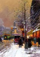 Oil painting paris place de la republique cityscape street scene & building tree