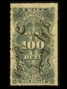 R3 HAWAII Revenue $1 Black NUMERAL Used ROULETTE Manuscript D3 SEE PHOTOS K-538