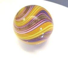 Mark Matthews Lutz Marble Hand Made GLASS Marbles Gold Signed Matthews