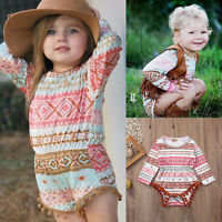 Baby Girl Long Sleeve Bodysuit Outfits Romper Playsuit Clothes Size 000-2