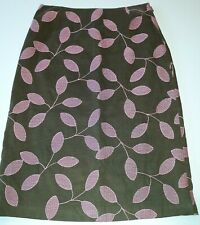 Tocca Anthropologie Leaves Embroidered Corduroy Skirt Brown Pink Size 4 Leaf