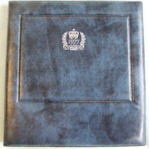 Vintage 1977 Queen's Silver Jubilee BLUE Faux Leather Self Stick PHOTO ALBUM