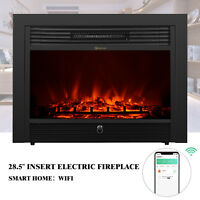 """28.5"""" Insert Electric Fireplace Wall Mount Heater Flame Log Freestanding Remote"""