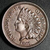 1861 INDIAN HEAD CENT - With LIBERTY & 4 DIAMONDS - AU UNC
