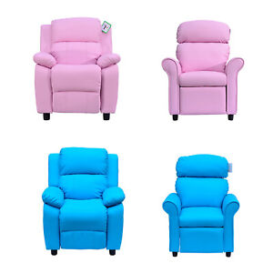 Kids Recliner Armchair Games Chair Sofa Childrens Seat  In PU Leather Pink Blue