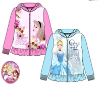 Kids Girls Disney PRINCESS Long Sleeves Hooded Zipped Jumper Sweat Top 3 to 8YRS