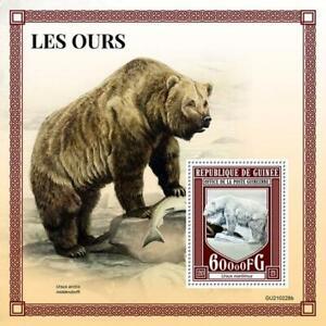 Guinea 2021 MNH Wild Animals Stamps Bears Kodiak Polar Bear 1v S/S